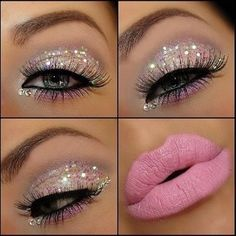 Glitter makeup, glitter, pink, white, lashes, eye shadow, pink lips, lips, Kisses