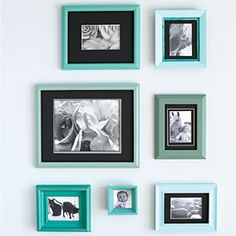 Create a unique photo display by painting mismatched picture frames with a carefully orchestrated palette