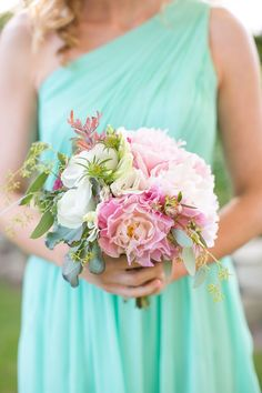 aqua bridesmaid dress + beautiful bouquet