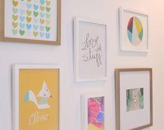Fun gallery wall in a modern big girl room - #gallerywall #biggirlroom