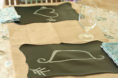 Chalk Cloth Placemats- Great as place cards #rusticwedding