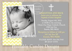 Yellow and Grey Chevron Baptism or Christening by printablecandee, $10.00