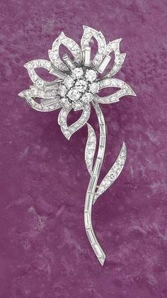 A Diamond Flower-Pin Van Cleef & Arpels circa 1950