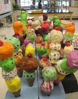 Thiebaud Ice Cream paper mache crumpled up newspaper and cone shaped cups for the bottom