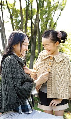 FREE Ladies Aran Poncho pattern by Pierrot (Gosyo Co., Ltd)