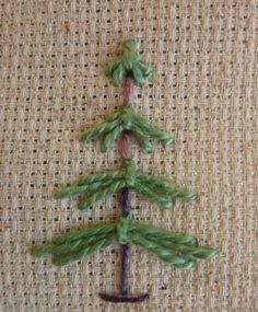 charlie brown christmas, pine tree, embroidery tree, embroidery easy, easy embroidery