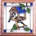 13x13 Stained Art Glass CHICKADEE on Bird Feeder Wall Suncatcher $34.50