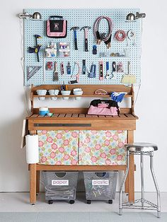 think sewing room.