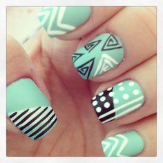 Tribal Nail art | See more at http://www.nailsss.com/colorful-nail-designs/2/ Spring Nails, Ring Finger, Nail Designs, Hair Beauty, Nail Art Ideas, Nail Arts, Tribal Nails, Tribal Prints, Blue Nails