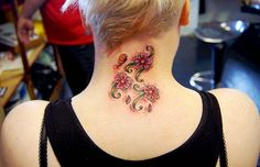 flowers and butterfly neck tattoo #neck #tattoo #women #female