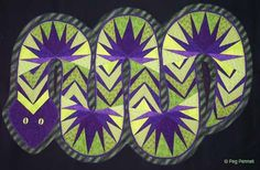 Peg Pennell from Nebraska makes great quilts. Here's her version of a snake. Got to love the green and purple!