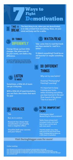 7 ways to fight demotivation #infografia #infographic