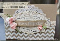 Stampin' Up! Stampin' Supplies; Stamps: Layered Labels; Paper: Crumb Cake, Wild Wasabi, Very Vanilla; Ink: White Craft; Accessories: Tea Lace Paper Doilies, Apothecary Accents Framelits, Chevron Embossing Folder, Regal  Rose* & Soft Suede & Basic Black Stampin' Write Markers, Boho Blossoms Punch, White Embossing Powder,  Roses from Artisan Embellishment Kit *, Crochet Trim   * items are retired