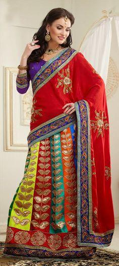 122266: Lehenga-style-saree #Multicolor #bridalwear #weddingcouture
