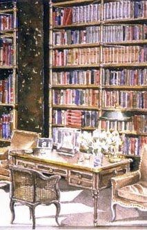 A watercolor painted by Mark Hampton of the Cole Porter library with bookcases designed by Billy Baldwin.