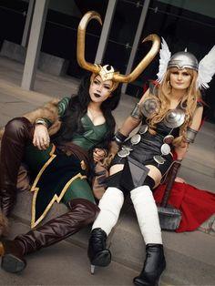 Lady Loki and Lady Thor I wanna be Lady Loki!!  Or is that Loki's Lady?  Yes to both?