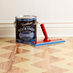 Chevron stencilled floor