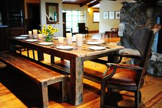 I love the look of rustic benches and rustic tables.