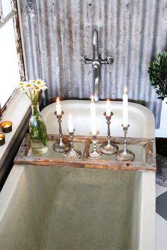 old window panes, bathtub, tray, old windows, rustic bathrooms, candl, tin, rustic elegance, bath time