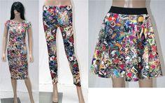 New Womens Ladies Graffiti Comic Cartoon Fashion Digital Print Midi Skater Dress
