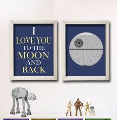 I Love You To The Moon And Back - Star Wars Nursery Art- Boy Room Decor - 2 Print Set - Death Star - Baby Shower Gift - Nursery Play Room