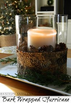 Christmas - Under The Table and Dreaming: Bark Wrapped Glass Hurricane Centerpiece {simple & easy natural decor}