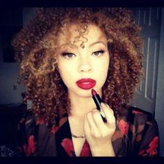 lipsticks, hair colors, makeup, natur hair, red lips, beauti, mac cosmet, natural curls, curly hair