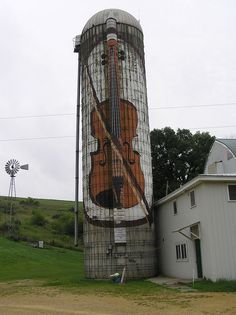 Old Barn Silo...with handpainted violin...found on the back roads in Iowa.