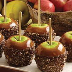 Caramel apple dip, check. Chocolately-good double-dip: check. Chopped pecans, check. Take Candy Apples to the next level with this easy and delicious fall recipe.