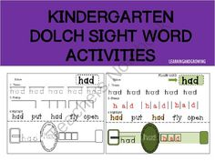 FREE-Kindergarten Dolch Sight word Activities (CCSS) Craftivity from LearningandGrowing on TeachersNotebook.com -  (6 pages)  - Kindergarten Dolch Sight Word Activities-Craftivity