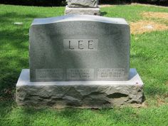 "Lee headstone in Memorial Park Cemetery, Jennings, Missouri: Lloyd Eugene ""Gene"" Lee, his first wife Ruth Nadine (Alexander) Lee, and Gene's uncle, Claude Frank Aiken. #genealogy #familyhistory"
