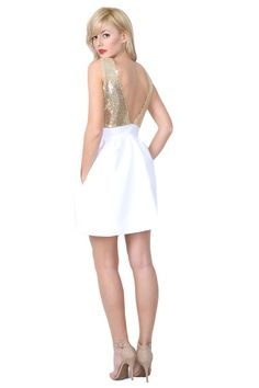 So cute! White dress with gold sparkle back Ampi Dress by Camilyn Beth