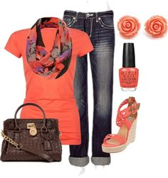 fashion, orang, style, cloth, colors, polyvore, casual outfits, shoe, spring outfits