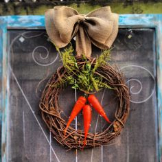 Carrot spring Easter burlap wreath  by CLMahler on Etsy, $45.00