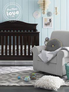 Trendy chevron and cute safari animals adorn this Circo crib bedding set.
