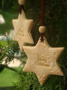 Christmas Tree decoration, Bright  Ivory  Star Ornament, Polymer clay Handmade.