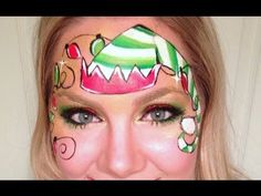 A cute and whimsical elf face painting thats great for both boys and girls! Products Used: Paint - FAB gold, Wolfe black, white, and red, TAG light green and dark green Glitter #6 Loew Cornell golden grip, #0 round, 1/2 flat One Stroke Face painting sponge Christmas Elf, Christmas Facepaint, Facepaint Art, Joy Young, Elf Face, Facepaint Ideas, Painting Ideas, Lisa Joy, Face Painting