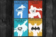 """PRINTABLE Antique Background Superhero Pose Wall Art Decor Poster by OurSecretPlace, $17.99, 11"""" x 14"""" Set of 4 Posters"""