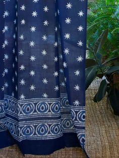 Starry Nights (c) ~ Indian Blue Batik Cotton Curtain Panel