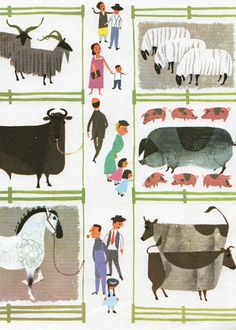 Vintage print COUNTRY FAIR farm animals