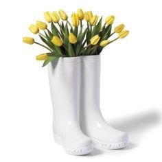 rain boot, planter, flower