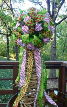 CHRISTMAS TREE TOPPER Double Bow in Red Lime Green by decoglitz