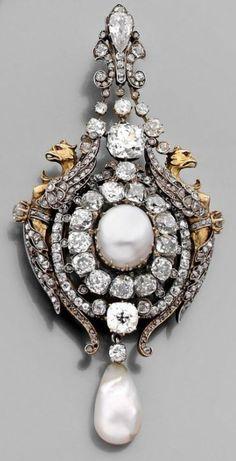 Lot 1067 - A RARE NATURAL PEARL, DIAMOND, GOLD AND SILVER BROOCH-PENDANT BY MASSIN. CIRCA 1867