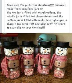 Snowman hot cocoa jar gifts