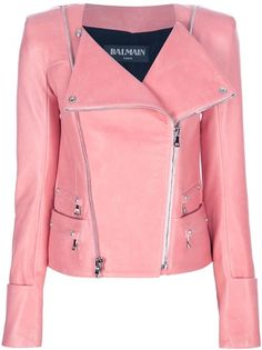 Balmain Fitted Biker Jacket in Pink