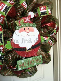 Ho Ho Ho Santa Red and Green Christmas Mesh by JuneFirstDesigns, $78.00