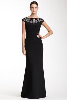 Cap Sleeve Silk Rhinestone Encrusted Dress