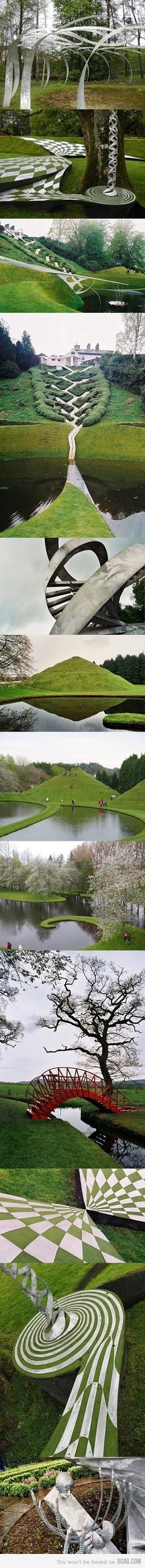 I want to go!--The Garden of Cosmic Speculation near Dunfries in Scotland is the creation of landscape architect and theorist Charles Jencks. #Garden_of_Cosmic_Speculation