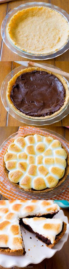 Gooey s'mores on top of a homemade brownie pie – there won't be a crumb left!