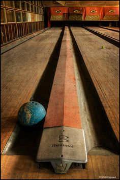 Bowling alley in an abandoned Borscht Belt hotel in the Catskills Mountains.
